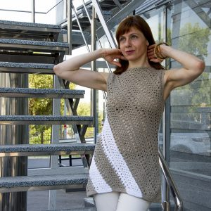 TRAPEZOID: Corner to Corner Crochet Tunic Pattern in English
